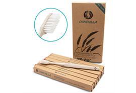 Zahnbürsten 6er Set beige  aus Weizenstroh und  Rizinusöl-Borsten